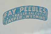 Original Fay Peebles Trailer Sales decal from Casper Wyoming on the side of a 1961 Shasta vintage trailer