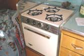 Vintage Holday Gas Stove/Oven Unit in 1962 Shasta 1500 trailer