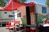 1962 Shasta Compact Trailer, Green and White With Red Polka Dot Awning!