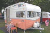 Front Shot of Rare Vintage 1963 Shasta Back Entry Trailer