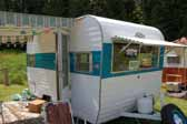 Great example of a mid-sized vintage Aladdin trailer manufactured by the Aladdin Trailer Company during the 60's