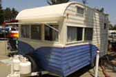 Sharp 1965 vintage Aljo Travel Trailer beach camping at Pismo Coast Village RV Park in California