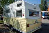 Picture of rear end of beautiful vintage 1966 Aloha travel trailer