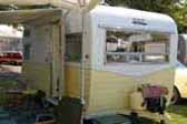Picture of front windows in beautiful 1966 vintage Aloha travel trailer