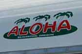 Photo shows new reproduction Aloha trailer logo decal on front of restored 1966 Aloha travel trailer