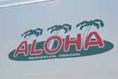 1966 Aloha vintage trailer looks great with a new Aloha reproduction logo decal on the front