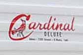 Cardinal logo graphics decal on the front of a 1966 Cardinal Deluxe vintage travel trailer