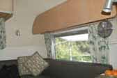 Picture of 1967 Airstream Caravel trailer showing bolsters in living room