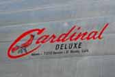1967 Cardinal Deluxe vintage trailer with a beautiful Cardinal reproduction logo decal on the front
