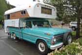 Photo of a vintage Chinook fiberglass Camper Shell mounted on a beautiful 1968 Ford pickup truck