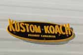 Fully restored 1968 Kustom Koach travel trailer with an awesome yellow Kustom Koach logo badge on the front