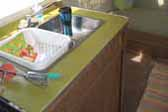 Avacado green formica kitchen countertop in 1975 Airstream Tradewind trailer
