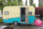 Side view of a classic Aladdin travel trailer