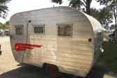 Photo of rare Aljo travel trailer