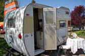 Picture of rear door entry on vintage Aloha Compact cabover trailer