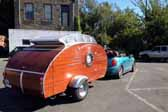 Picture of a 1951 Vagabond trailer setup for camping at the Pismo Vintage Trailer Rally