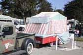Early Tent Trailer With Lowered Vintage Pickup Truck Tow Vehicle