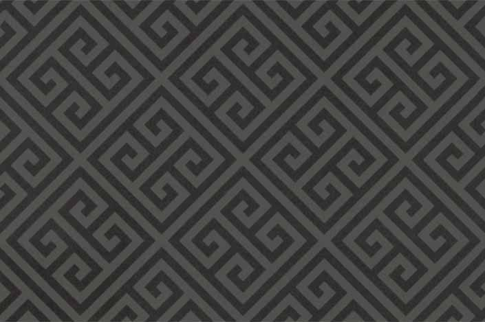 Retro formica laminate sample chip; Charcoal Greek Key pattern #9494
