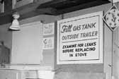 Government photo shows the kitchen area in a 1940's model canned ham trailer supplied by the Government, at Project Hanford Trailer City in Washington