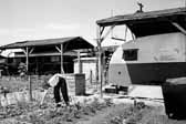 This view shows a woman tending to her vegatable garden next to her family's vintage trailer, at Project Hanford Trailer City