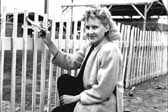 Historical photo shows a pretty woman dressed up and painting her picket fence, at the Hanford Trailer Camp in Washington