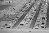 Vintage photo provides an aerial view of a huge collection of worker's vintage trailers, at the Project Hanford Trailer City in Washington