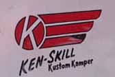 Ken-Skill logo graphics decal on the side of a vintage Ken-Skill Kustom Kamper trailer