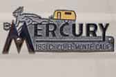 Very cool original chrome emblem casting of the Mercury logo on the side of a vintage Mercury trailer