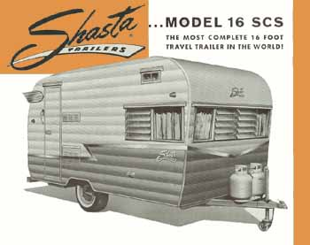 Original dimensions, features and specifications for the Shasta 16SCS Vintage Trailer