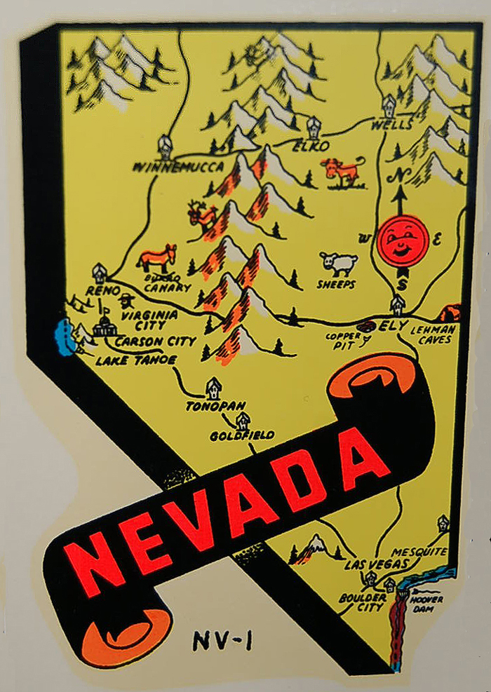 Cool Vintage Souvenir Decal commemorating the state of Nevada