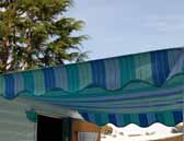 Vintage trailer canvas awnings featuring different fabrics, colors, stripes and fringe edging