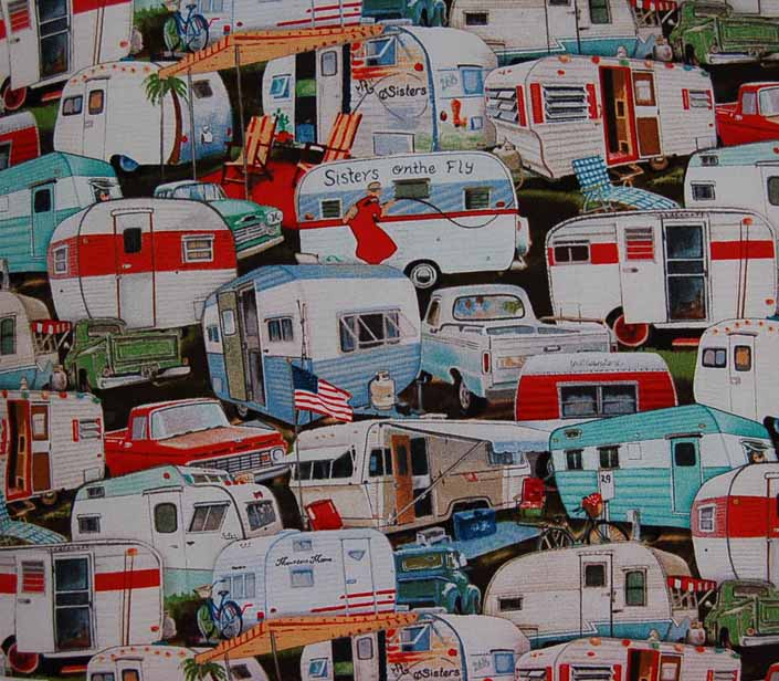 This photo shows a swatch of retro fabric with vintage trailers and pickup trucks, for your vintage trailer