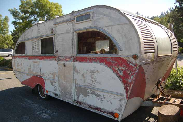 Very rare vintage Aero Flite trailer parked in storage