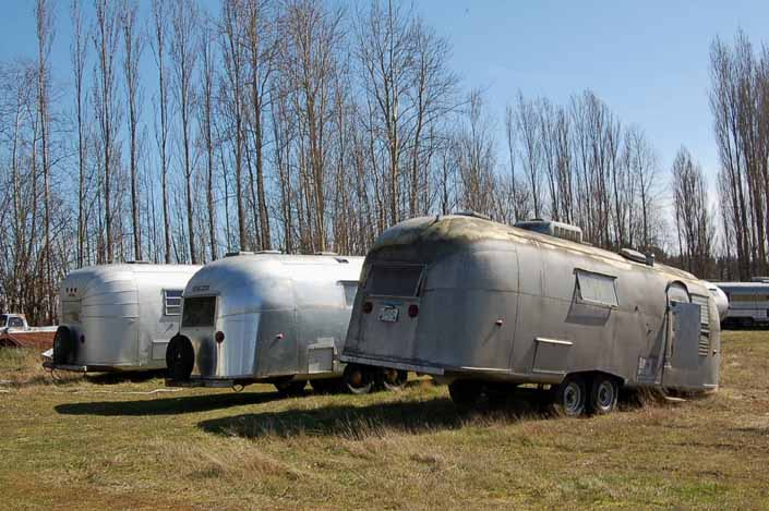 This vintage trailer junk yard has a group of vintage Airstream trailers available for restoration