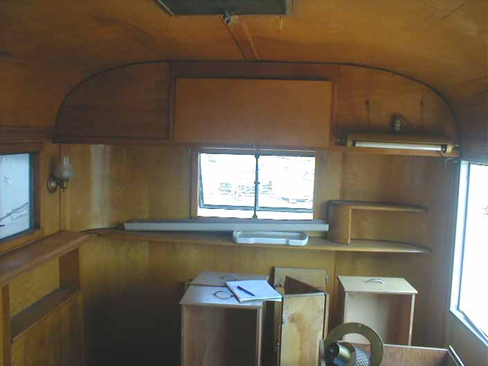 Vintage trailer salvage yard has a 1948 Westcraft Westwood vintage trailer with mostly complete interior cabinetry