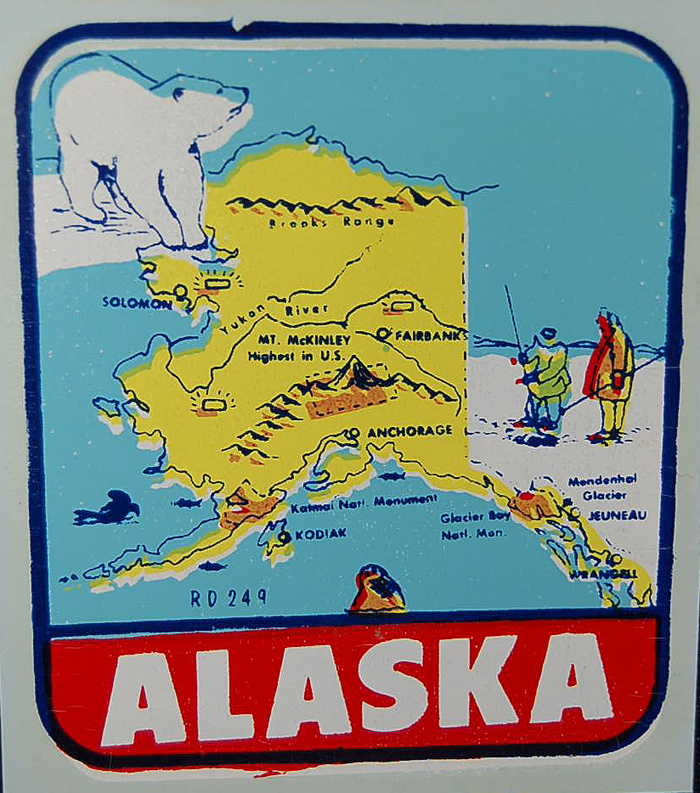 Colorful Alaska Vintage Travel Decal from the 1960s shows iconic polar bear and map of Alaska
