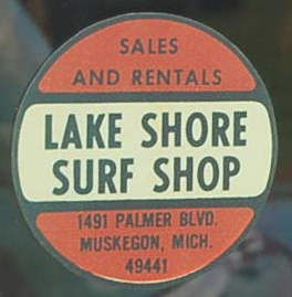 Awesome Vintage Travel Decal from the Lakeshore Surf Shop located in Muskegon, Michigan