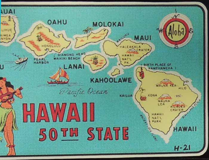 Vintage Travel Decal From Hawaii, Our 50th State