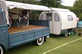 Picture of the beautiful re-finished bedroom paneling a 1950 Vagabond trailer