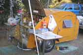 Cool Retro Teardrop Trailer With Wood Roof and Sides, Setup for Camping
